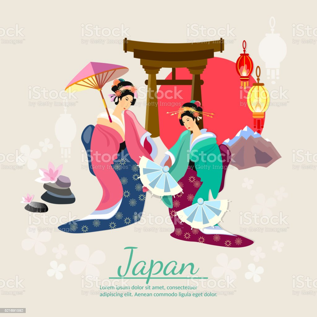 Japanese geisha japanese tradition and culture vector art illustration