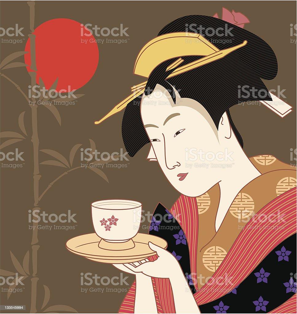 Japanese Geisha - Traditional Art Style Vector vector art illustration