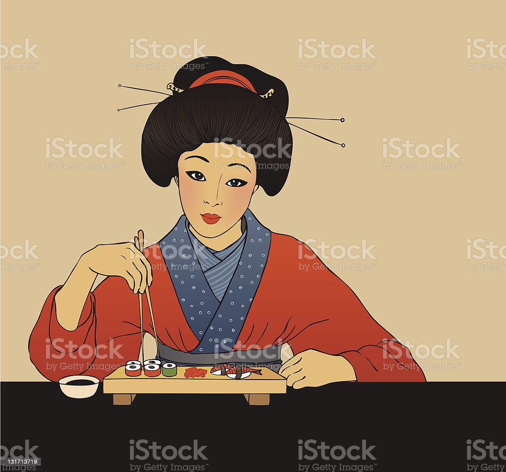 Japanese girl enjoy sushi vector art illustration