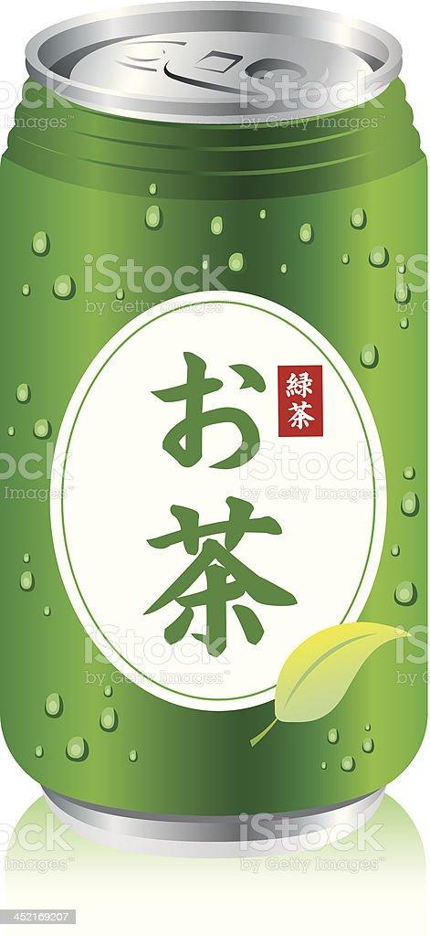 japanese green tea cans Vector vector art illustration