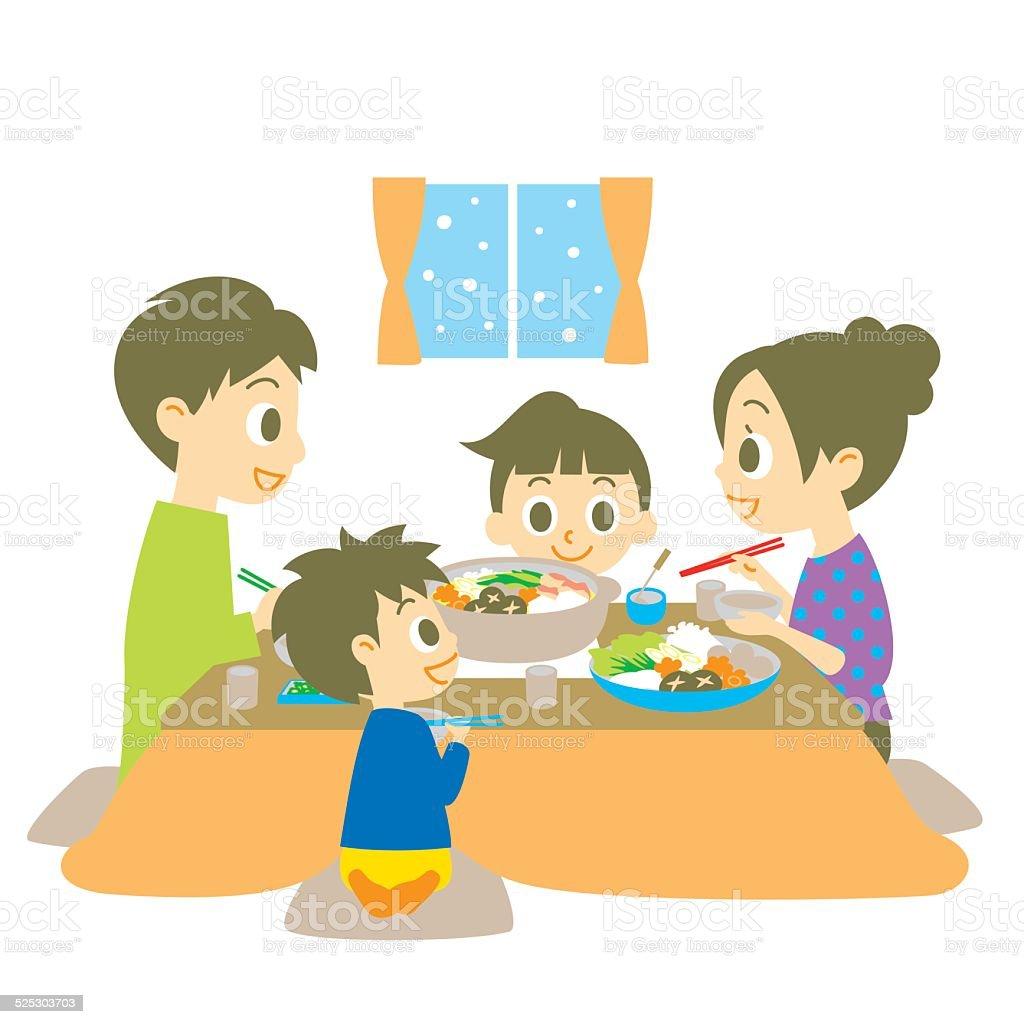 Japanese hot pot dish, family vector art illustration