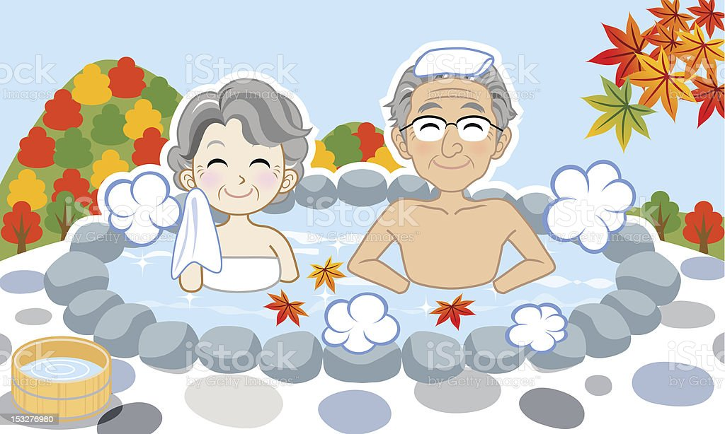 Japanese hot spring in Autumn, Senior couple royalty-free stock vector art