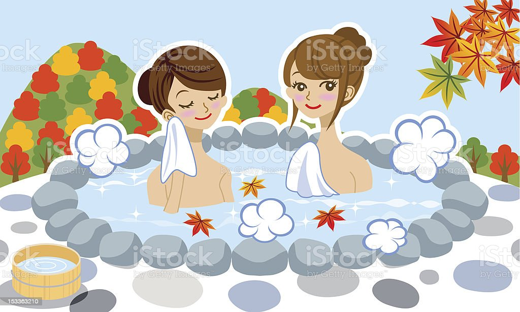 Japanese hot spring in Autumn, Two young women royalty-free stock vector art