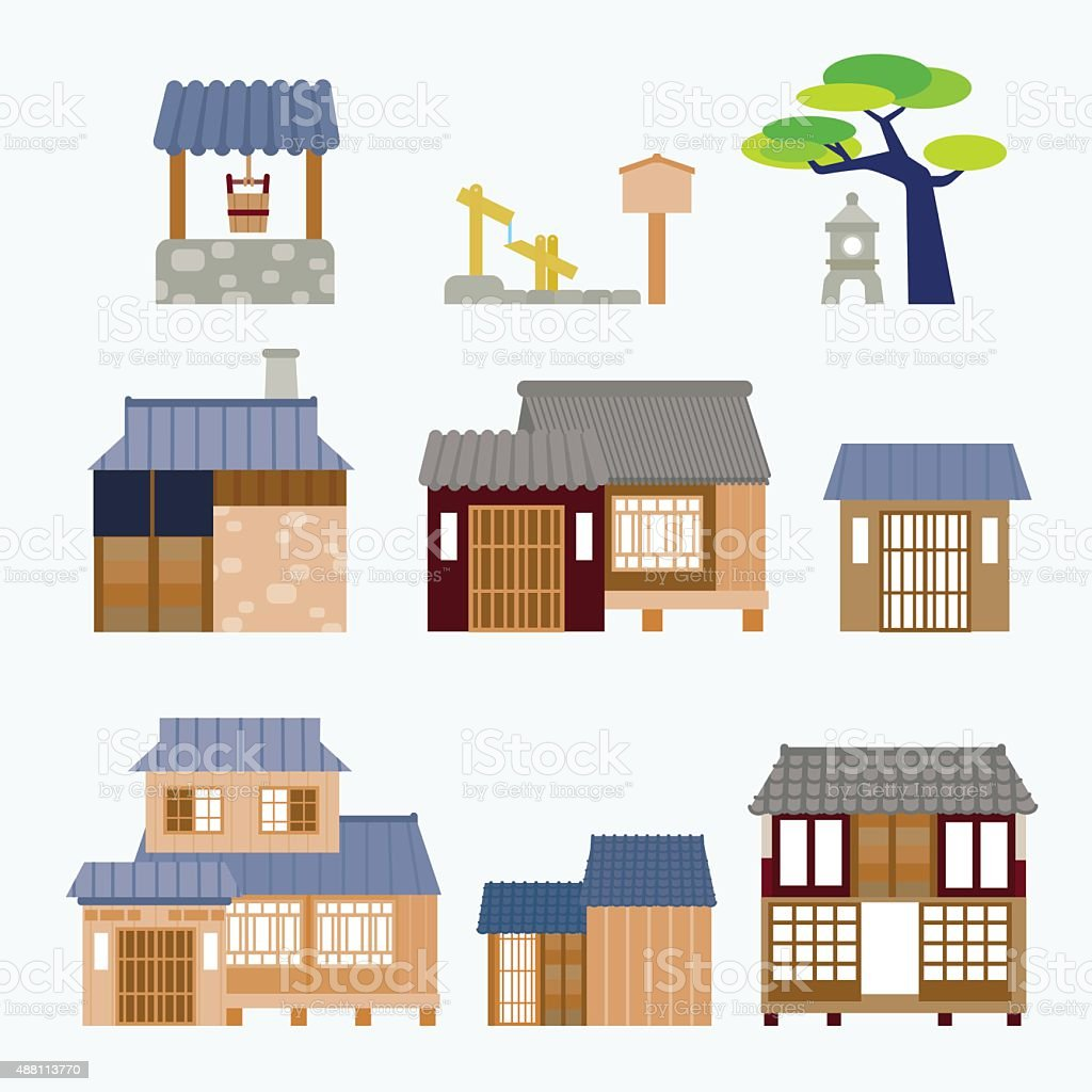 Japanese house vector art illustration