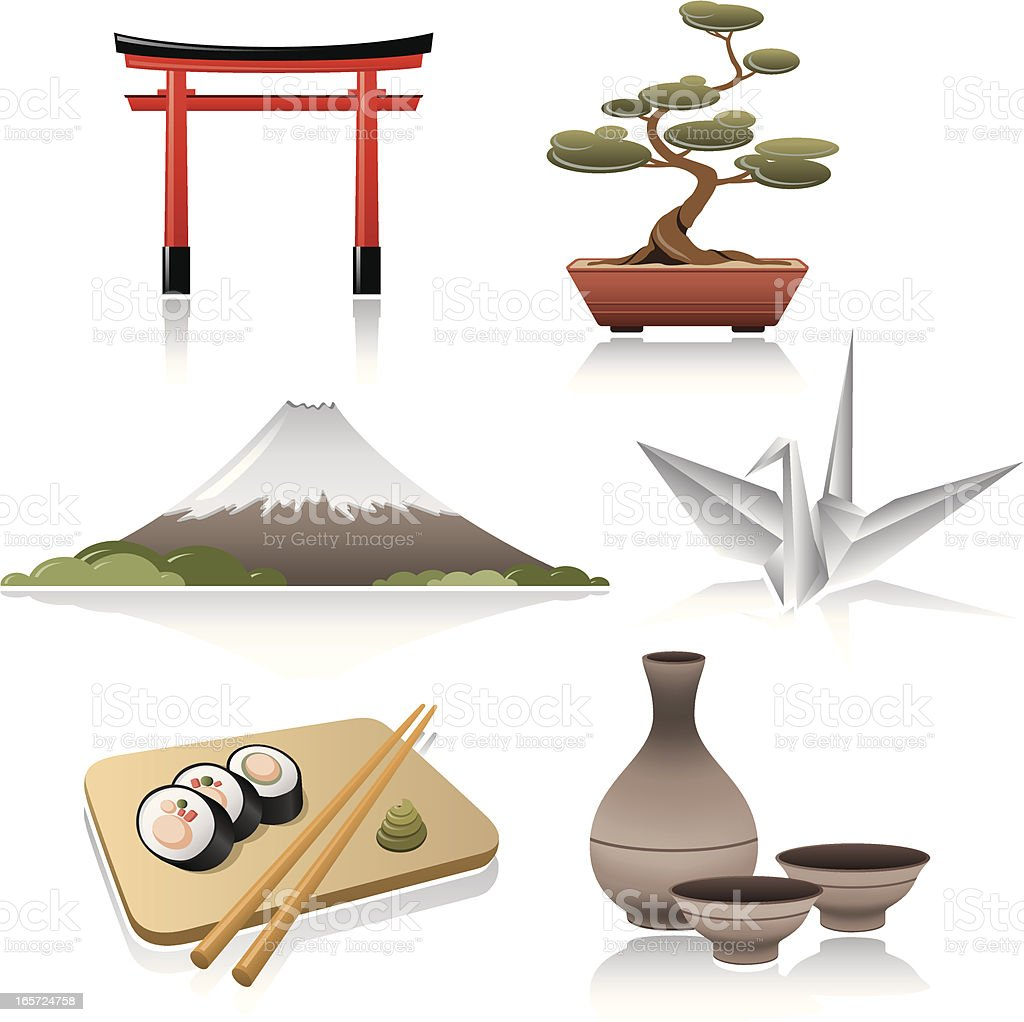 Japanese Icon set vector art illustration