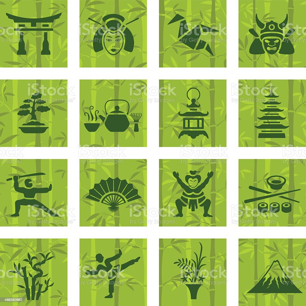 Japanese Icon Set vector art illustration