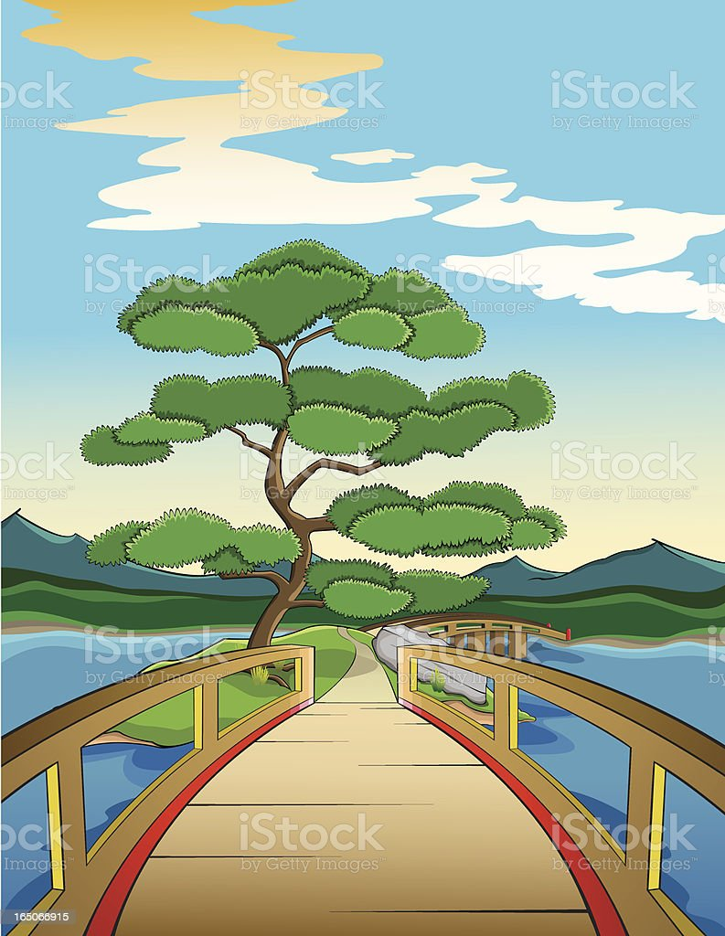 Japanese island and bridge vector art illustration