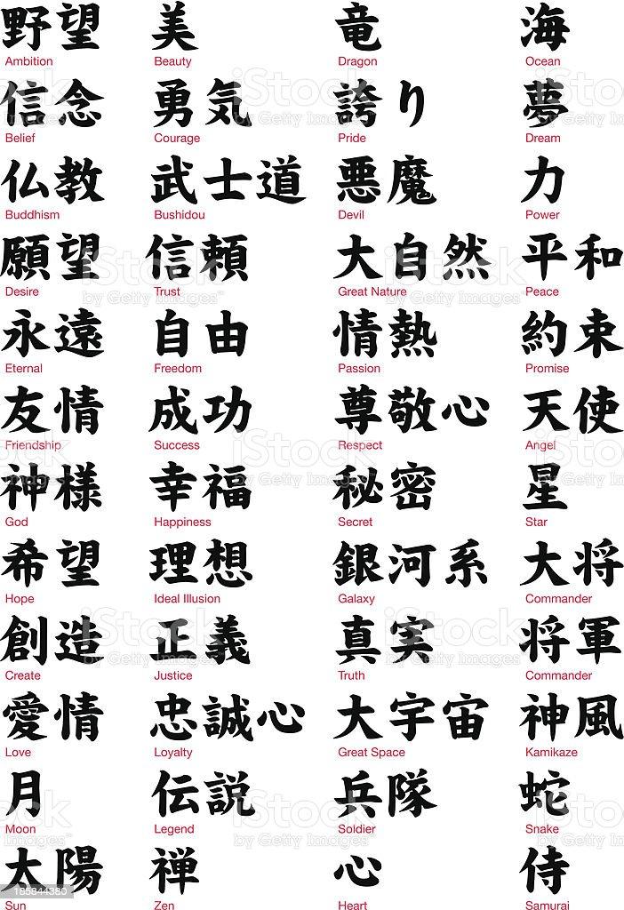 Japanese Kanji vol.1 vector art illustration
