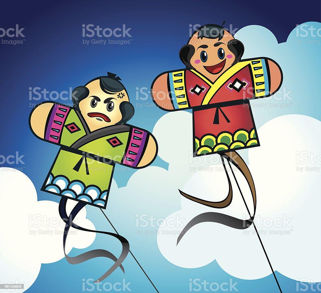 Japanese Kites in the sky vector art illustration