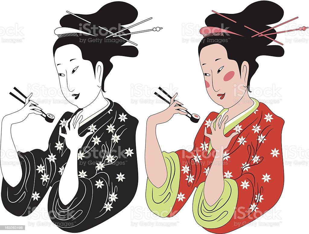 Japanese lady enjoying sushi vector art illustration