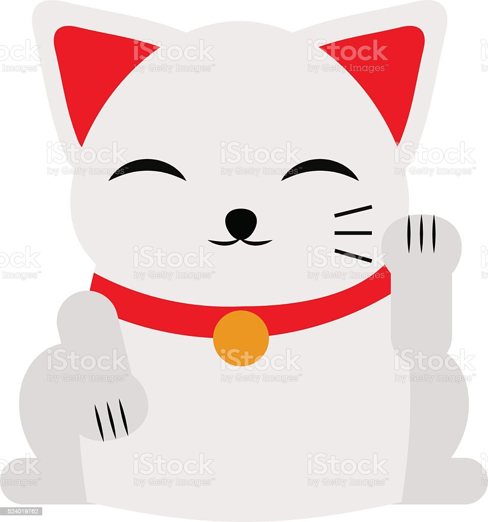 Japanese maneki neko lucky cat fortune symbol success kitty toy vector art illustration