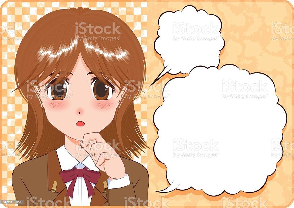 Japanese Manga style[thinking girl] vector art illustration