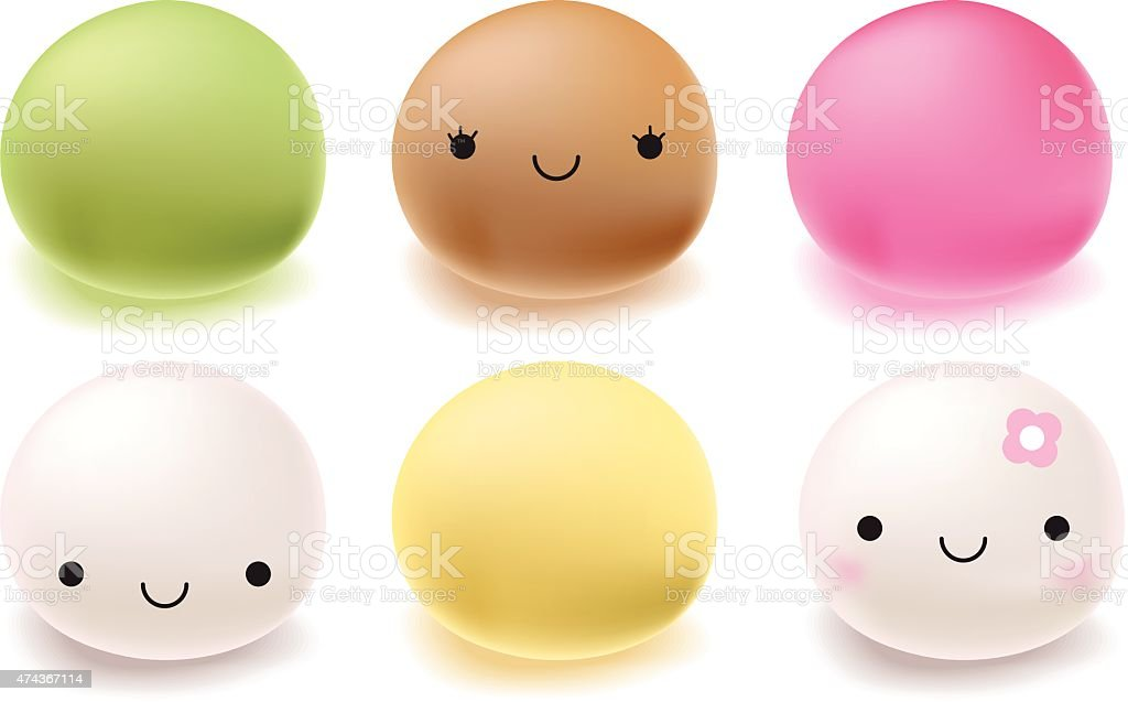 Japanese mochi rice dessert. Vector Set of sweets. vector art illustration