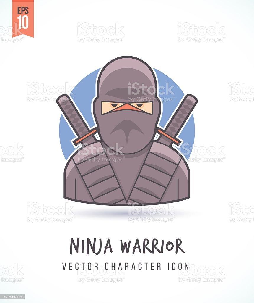 Japanese ninja warrior illustration vector art illustration