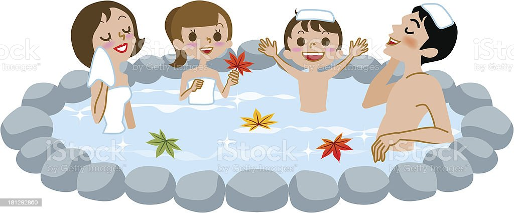 Japanese Open-air bath,family and fall leaves vector art illustration