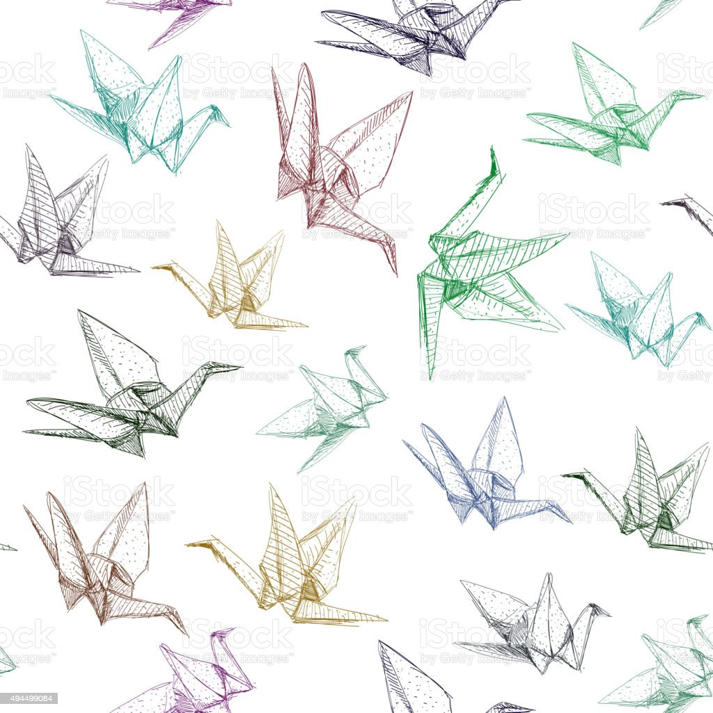 Japanese Origami paper cranes symbol of happiness, luck and longevity vector art illustration