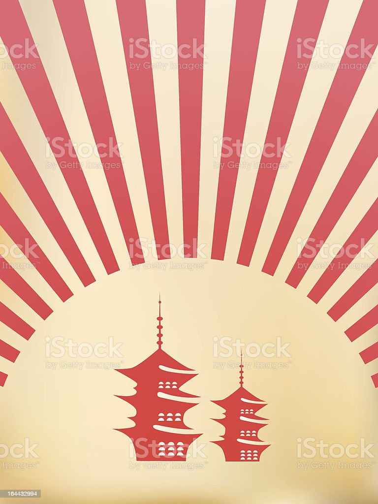 japanese pagoda illustration vector art illustration