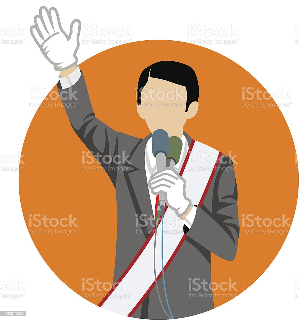 Japanese politician in election campaign royalty-free stock vector art
