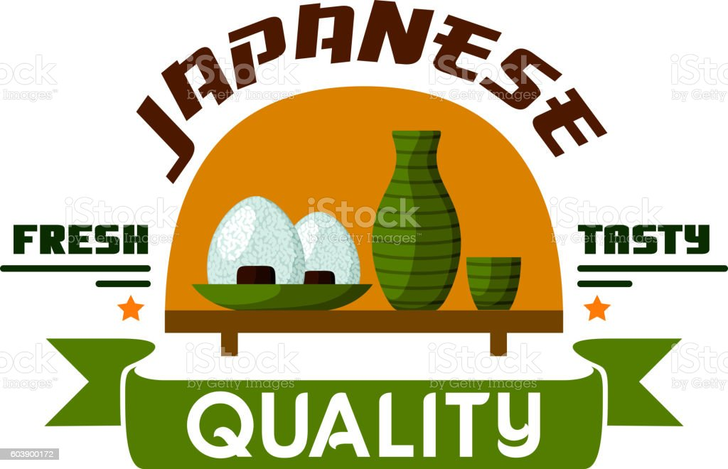 Japanese quality food. Fresh and tasty vector art illustration