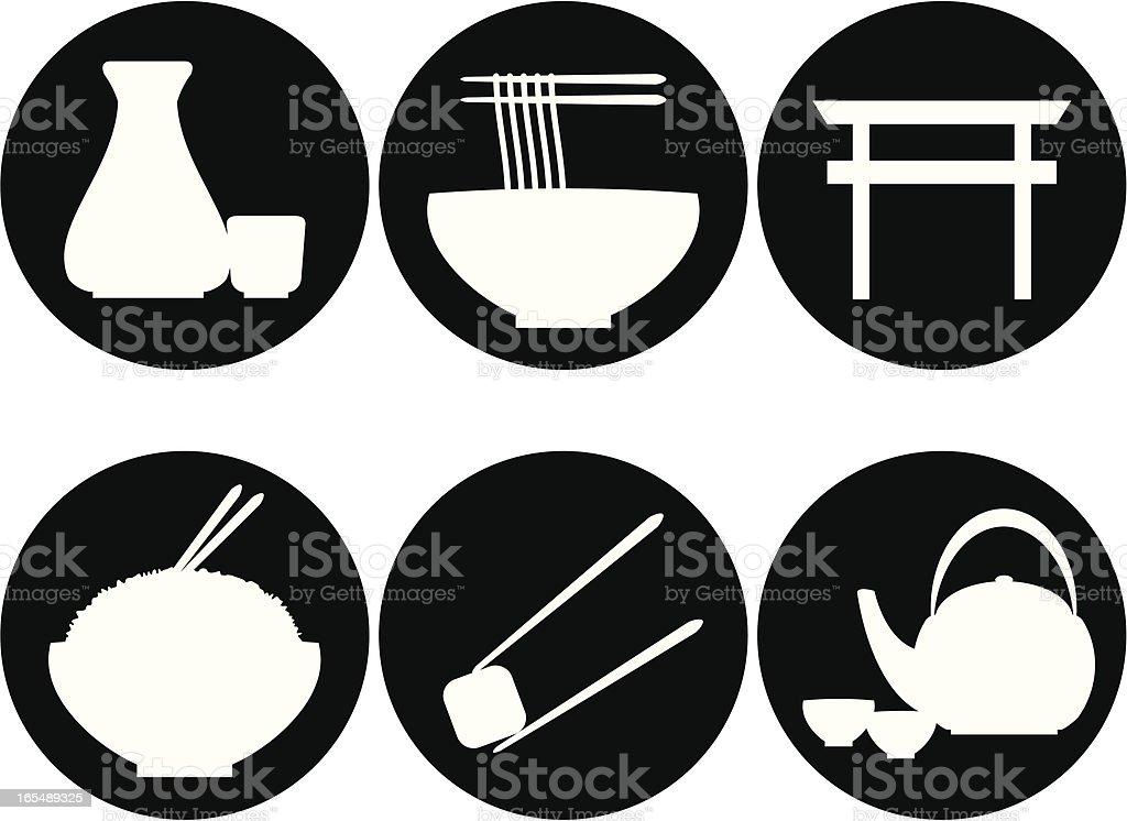 Japanese Restaurant Icons vector art illustration