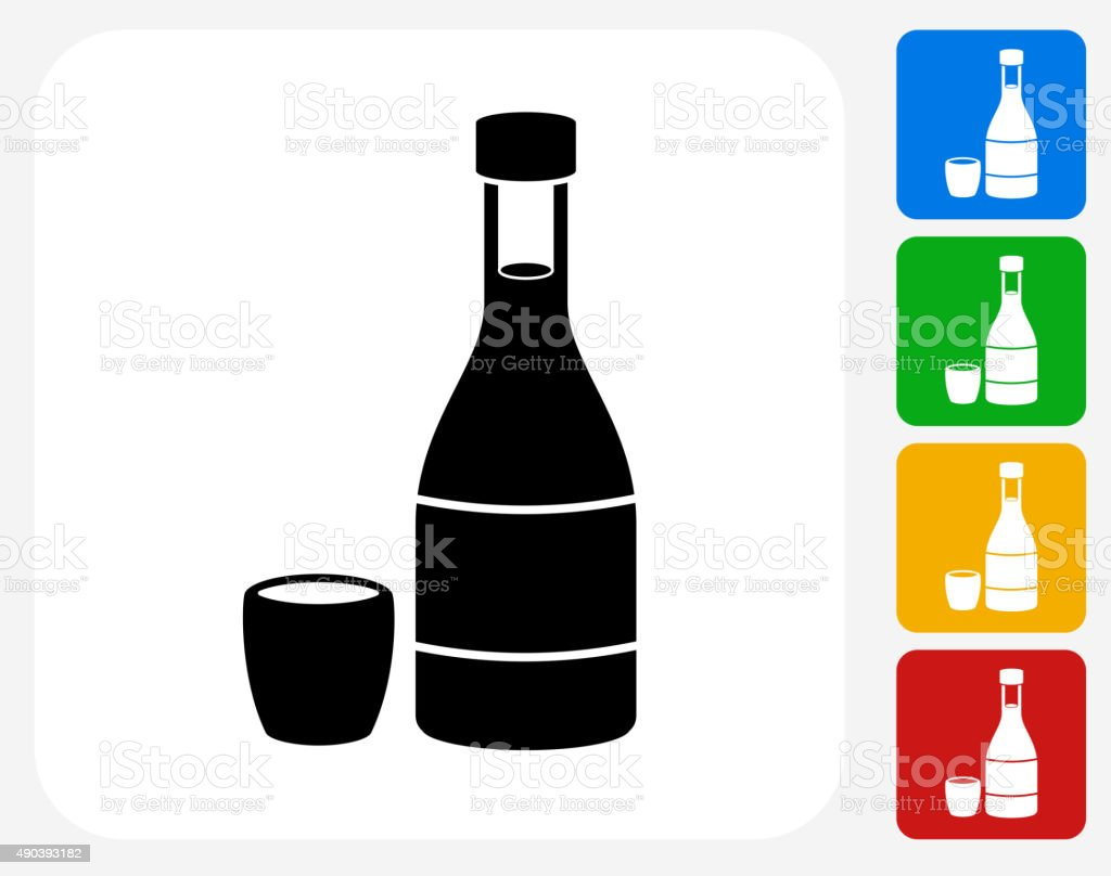 Japanese Sake Bottle Icon Flat Graphic Design vector art illustration