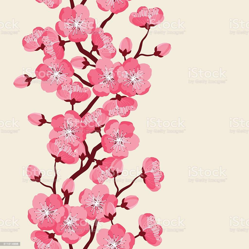 Japanese Sakura Seamless Pattern With Stylized Flowers