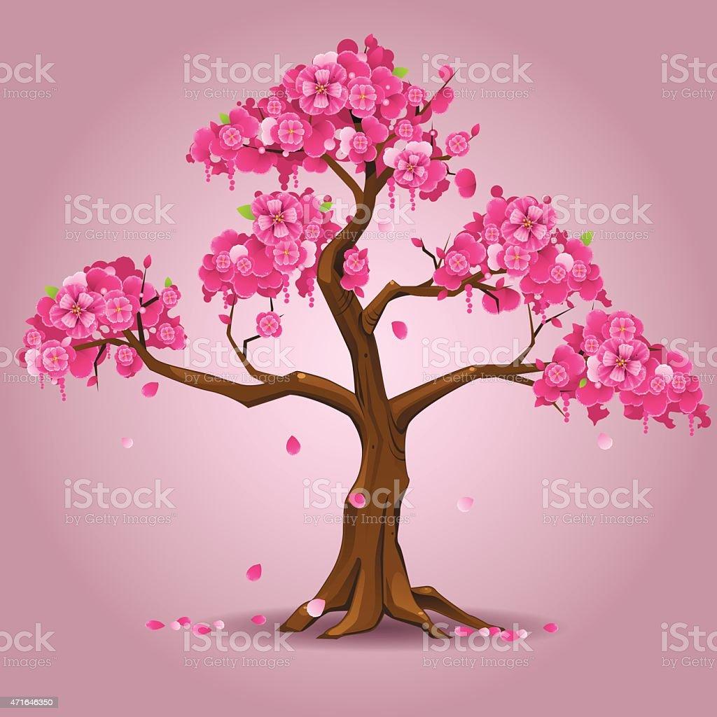 Japanese sakura tree vector art illustration