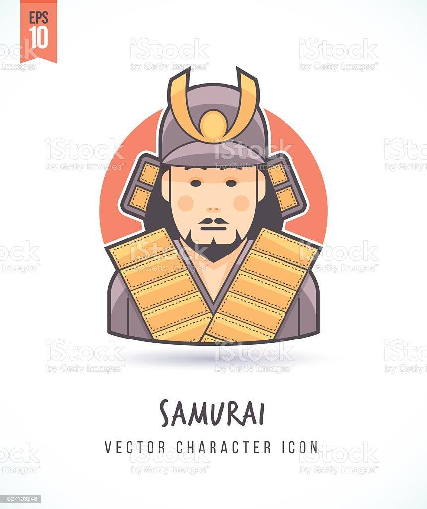 Japanese samurai warrior illustration vector art illustration