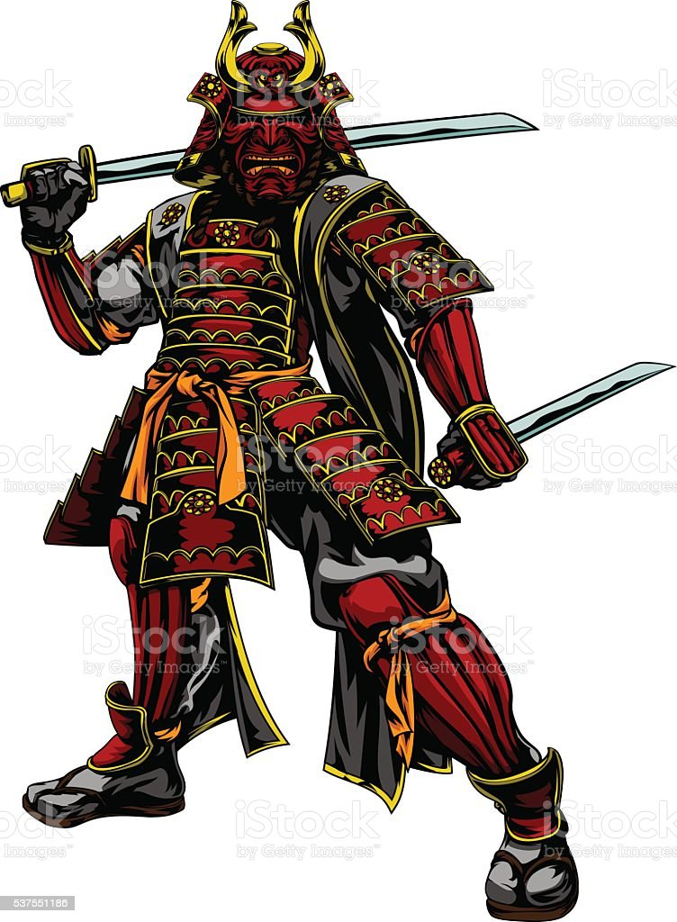 Japanese Samurai Warrior vector art illustration