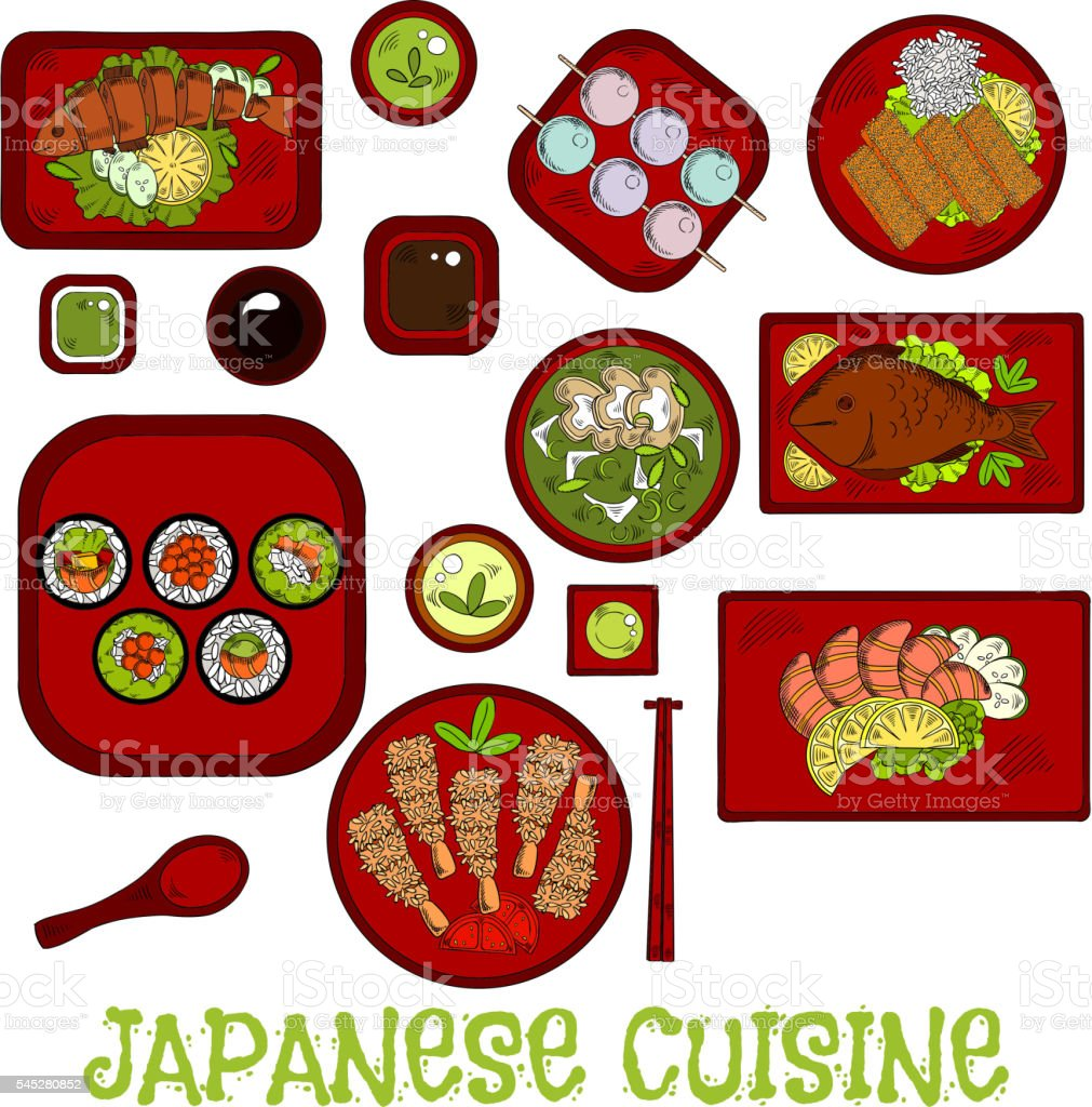 Japanese seafood dinner with dessert sketch icon vector art illustration