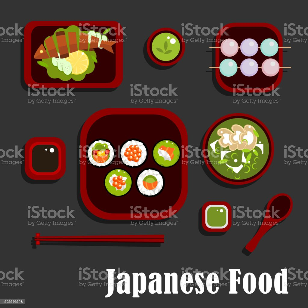 Japanese seafood dishes and dessert vector art illustration