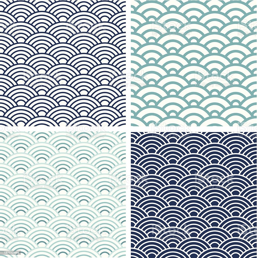 Japanese Seigaiha seamless pattern set vector art illustration