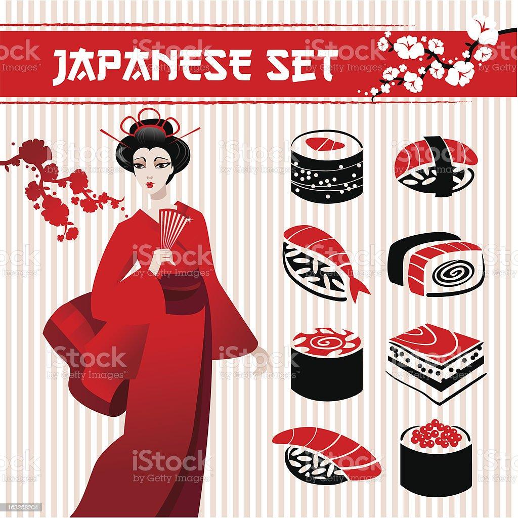 Japanese set royalty-free stock vector art