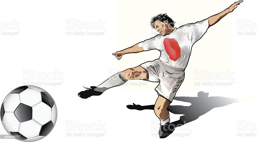 Japanese soccer player royalty-free stock vector art