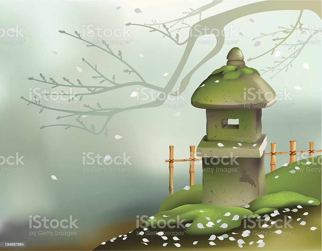Japanese stone lantern royalty-free stock vector art