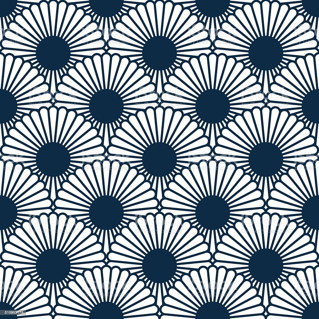 Japanese style chrysanthemum seamles pattern. Traditional flower.Vector blosom endless texture vector art illustration