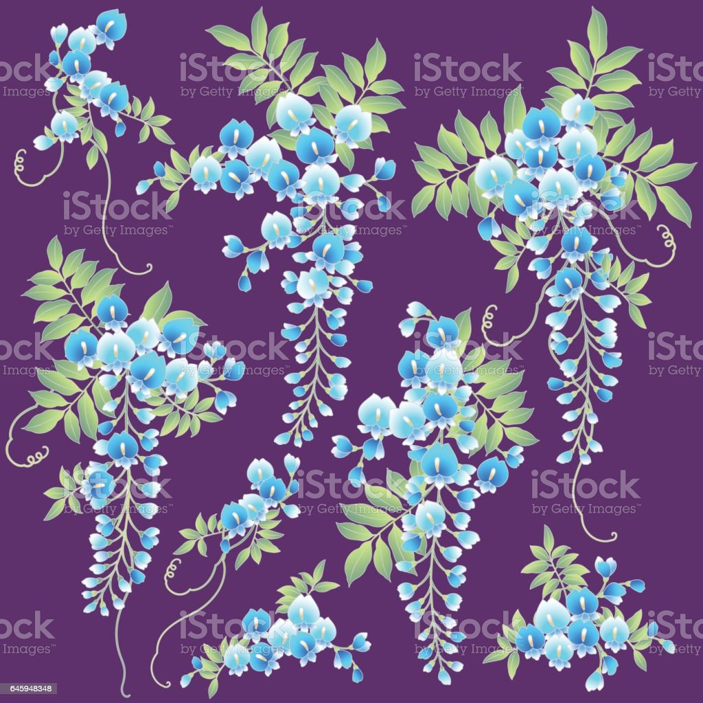 japanese style wisteria stock vector art 645948356 istock japanese style wisteria