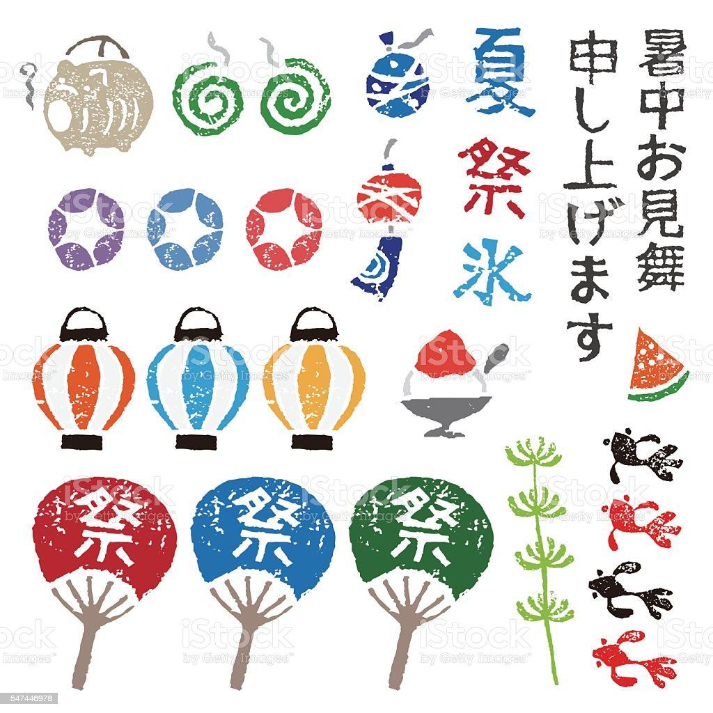 Japanese summer elements vector art illustration