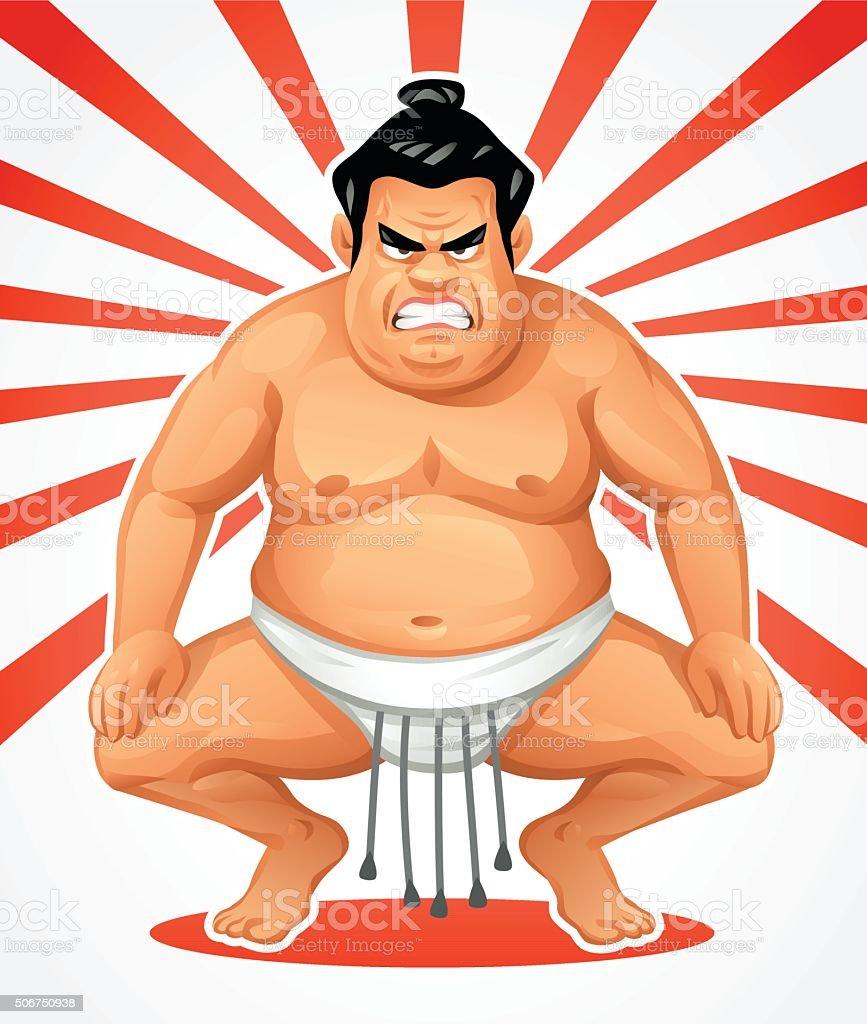 Japanese Sumo Wrestler vector art illustration