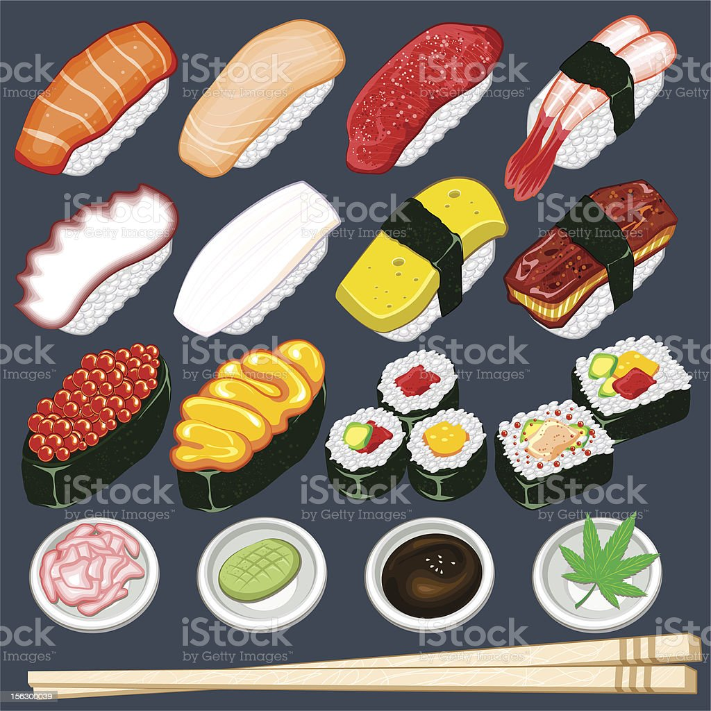 Japanese Sushi Collection Set vector art illustration