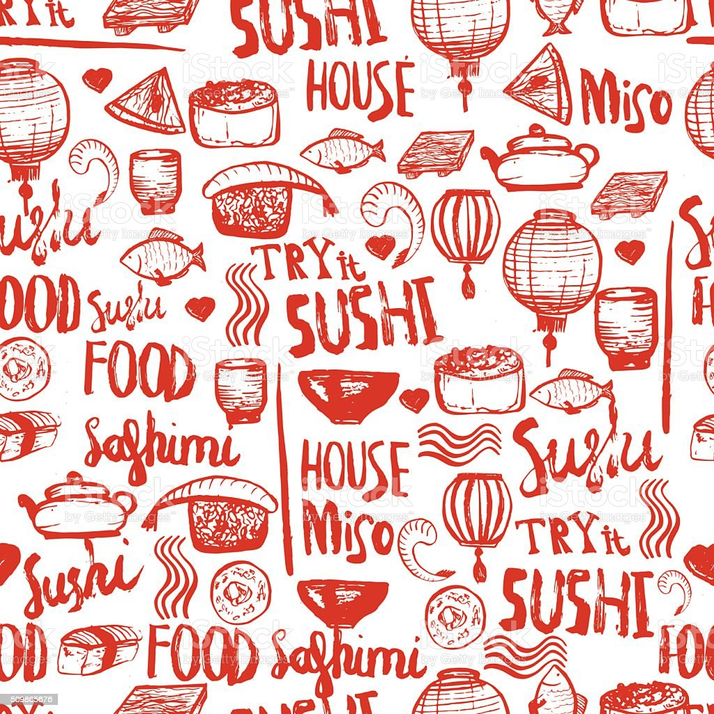 Japanese sushi food seamless background. vector art illustration