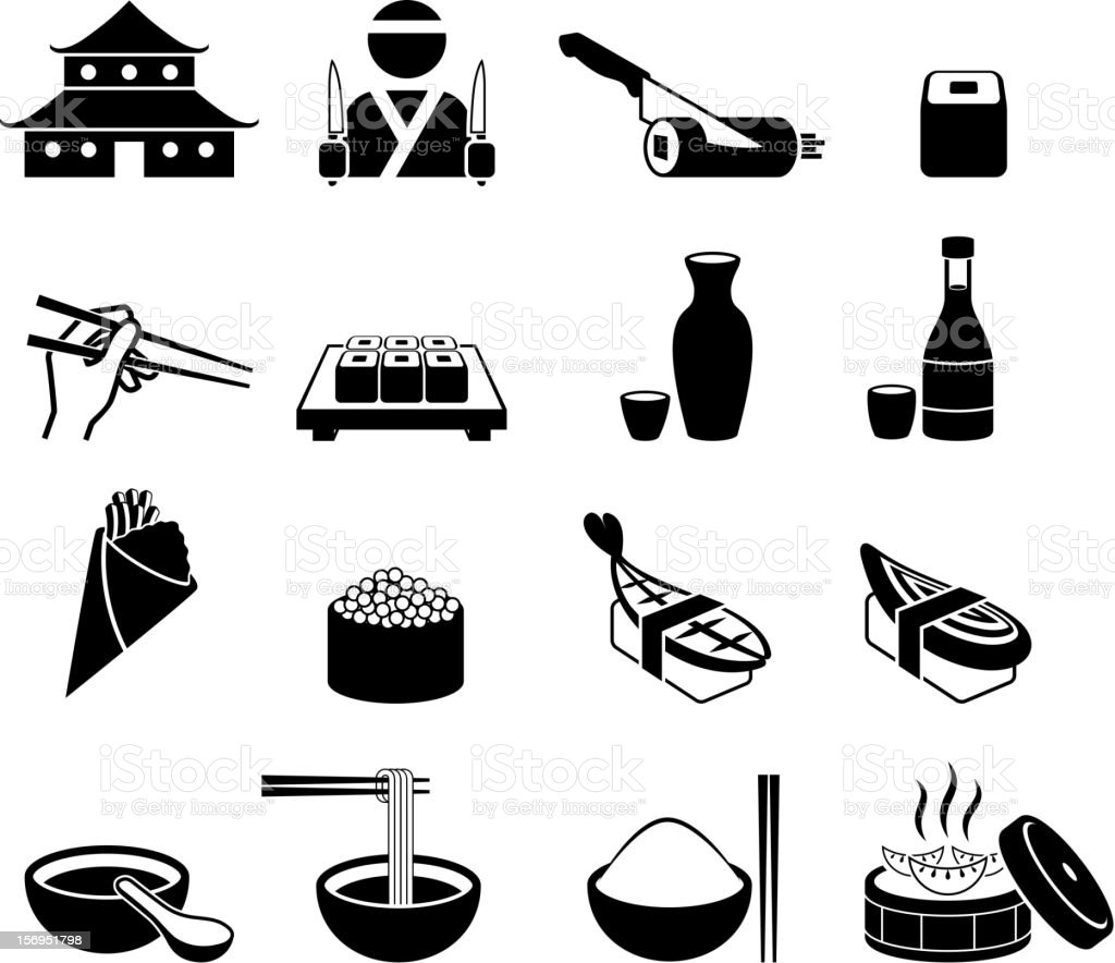 Japanese Sushi Restaurant black and white royalty-free vector icon set vector art illustration