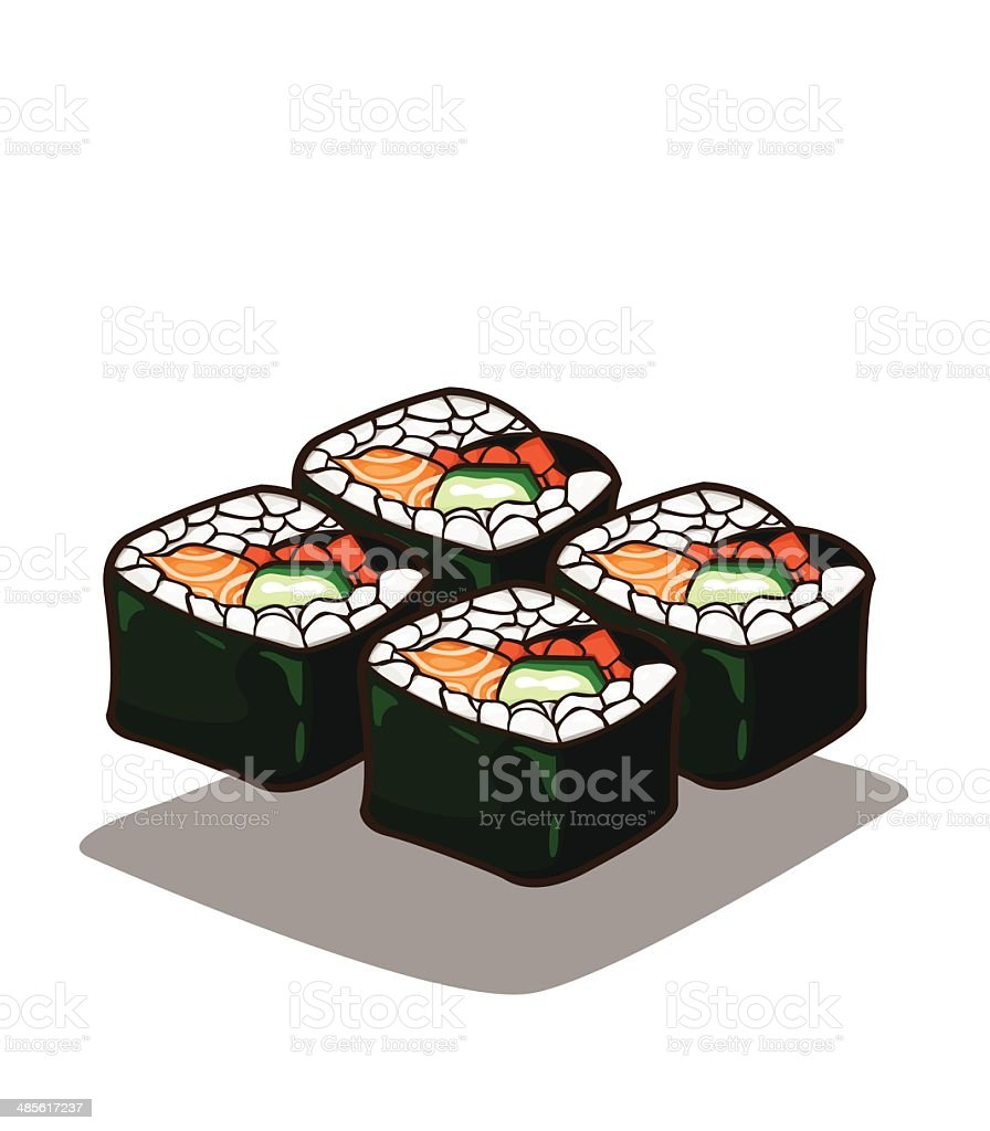 Japanese sushi salmon and rolls royalty-free stock vector art