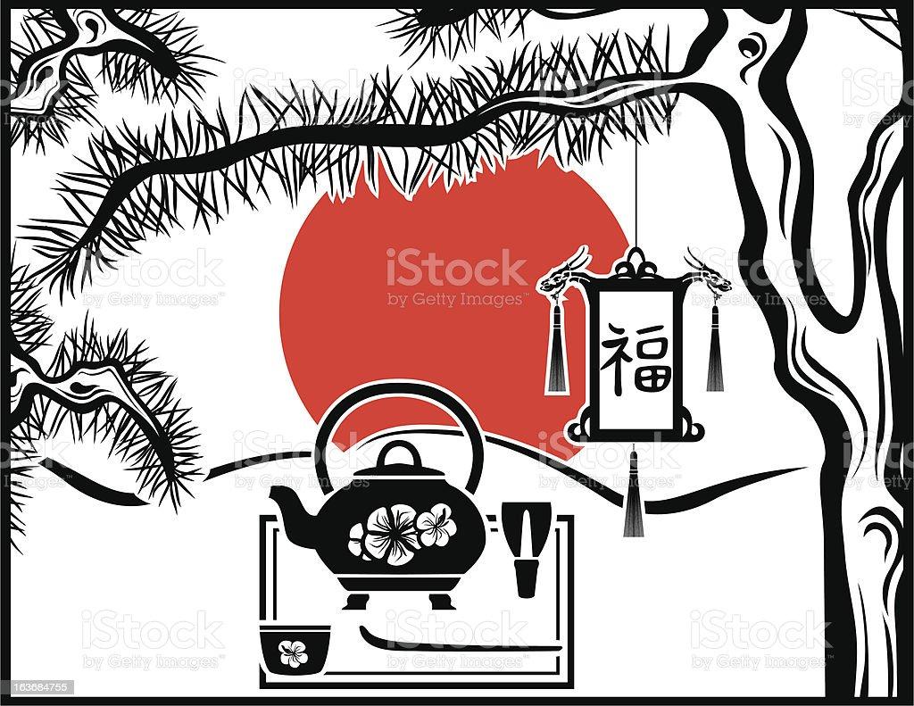 Japanese tea background royalty-free stock vector art