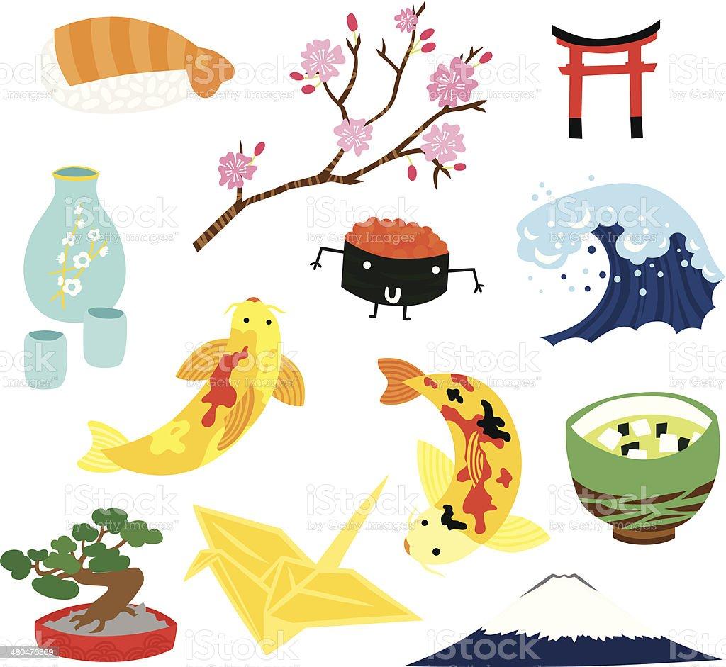 Japanese Traditional Items Set vector art illustration