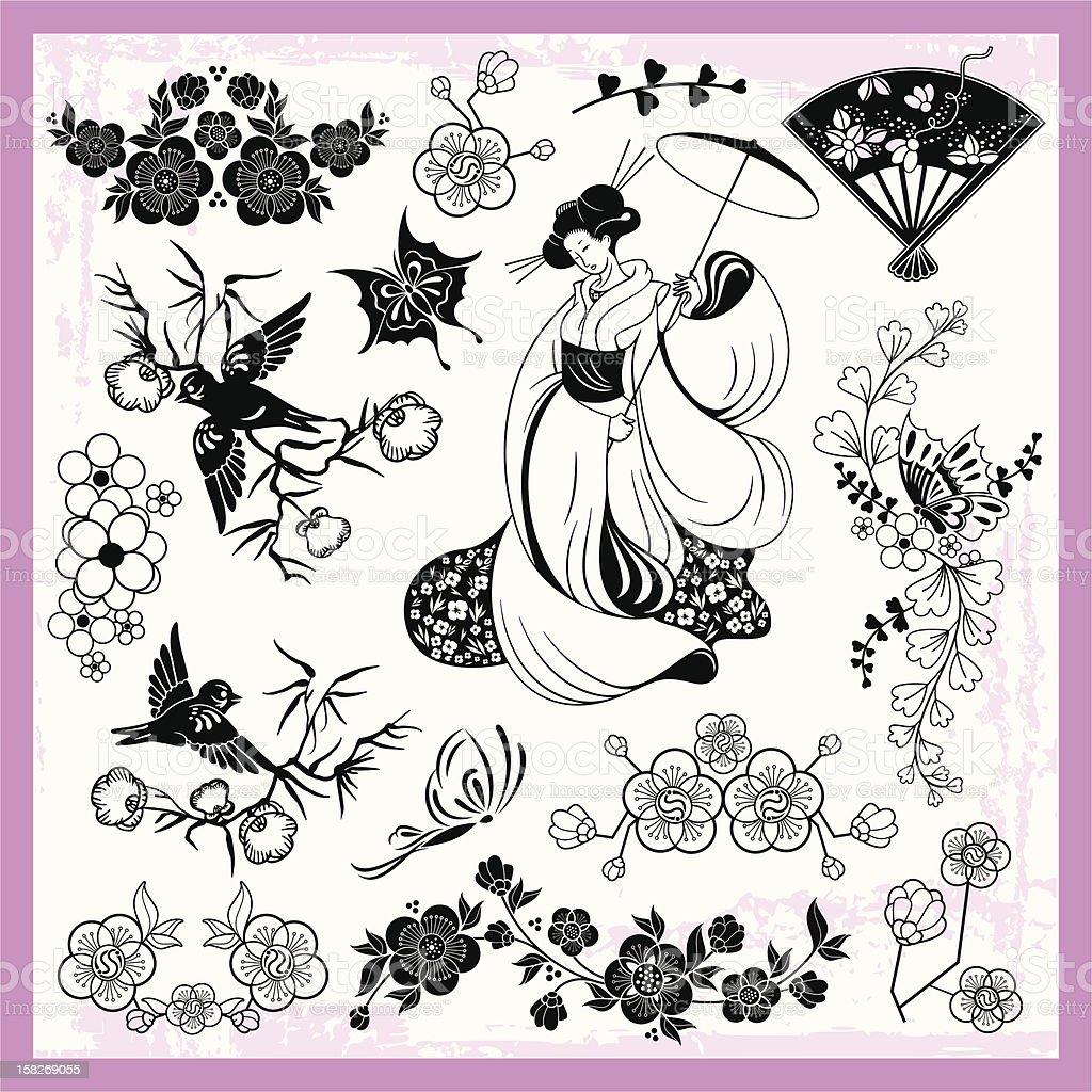 Japanese Traditional Ornaments Vector Set vector art illustration