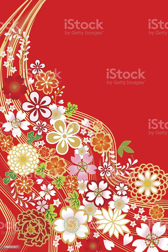Japanese Traditional Pattern,Flowers and Plants vector art illustration