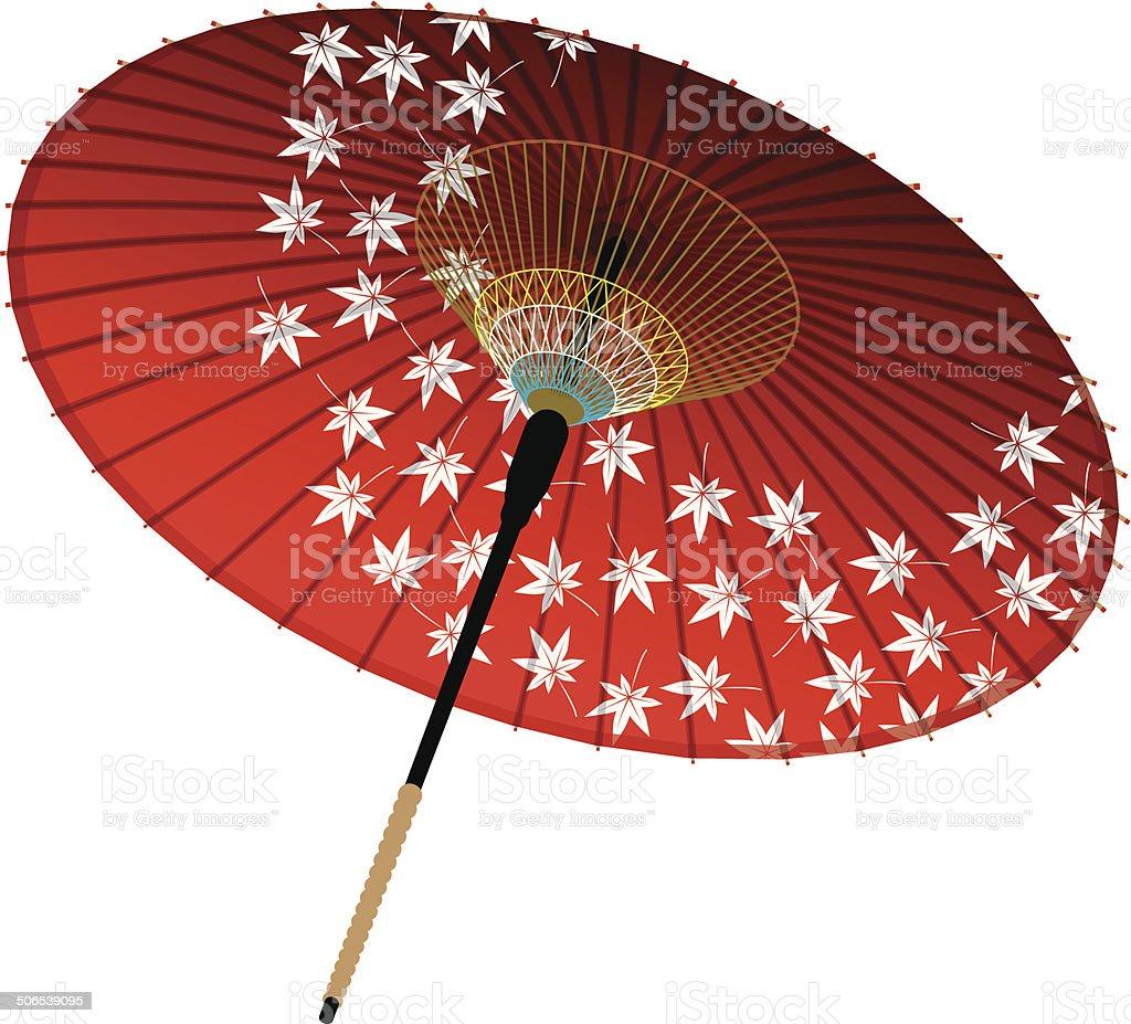Japanese umbrella, maple vector art illustration
