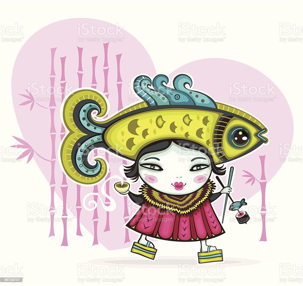 Japanese  valentine card royalty-free stock vector art
