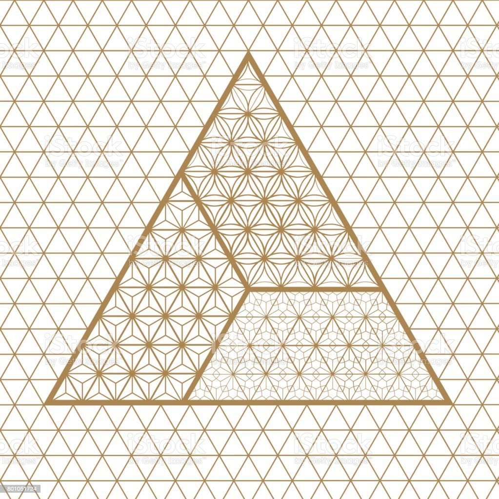 Japanese vector background. Gold pattern vector. Kumiko pattern in Japanese style vector art illustration
